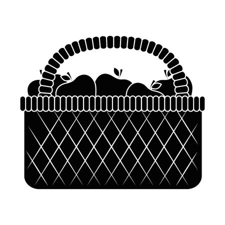 picnic basket with apples vector illustration design