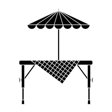 Picnic table with umbrella vector illustration design