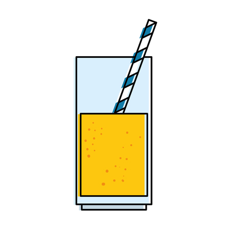 juice glass with straw vector illustration design