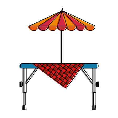 Picnic table with umbrella vector illustration design Reklamní fotografie - 96519566