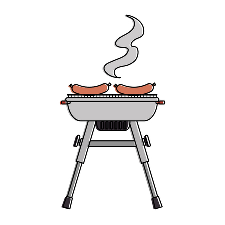 grill oven with sausages vector illustration design Illustration