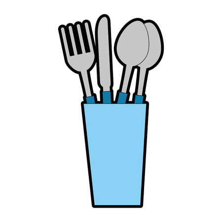 Glass with cutlery icon vector illustration design Ilustrace