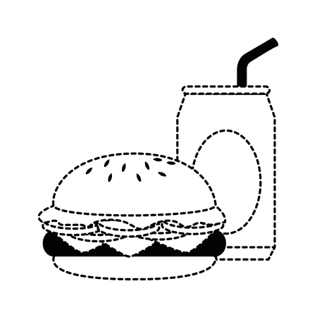 delicious burger with soda can vector illustration design