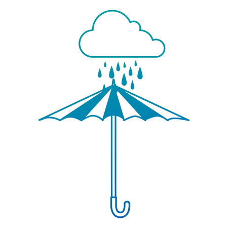 Cloud rainy sky with umbrella vector illustration design Illusztráció
