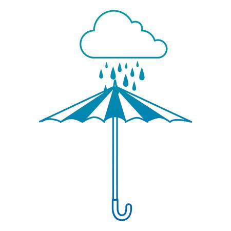 Cloud rainy sky with umbrella vector illustration design Illustration