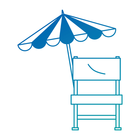 Garden chair picnic with umbrella vector illustration design