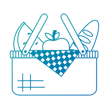 Picnic basket with bread and fruits vector illustration design Illustration