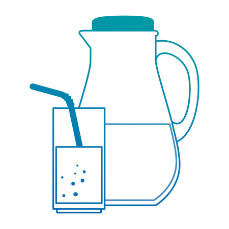 Juice glass pot with cup vector illustration design Illusztráció