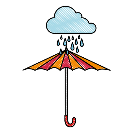 Cloud rainy sky with umbrella vector illustration design Illustration