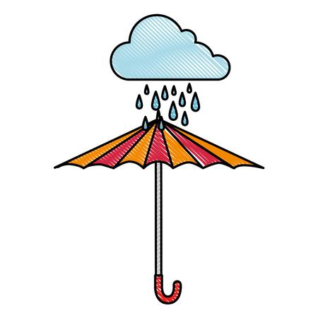 Wolken regenachtige hemel met ontwerp van de paraplu het vectorillustratie Stock Illustratie