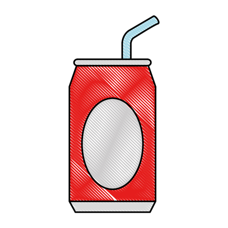 Soda can with straw vector illustration design Illustration
