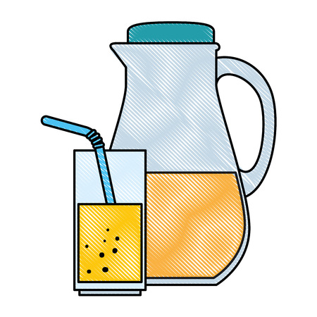 juice glass pot with cup vector illustration design