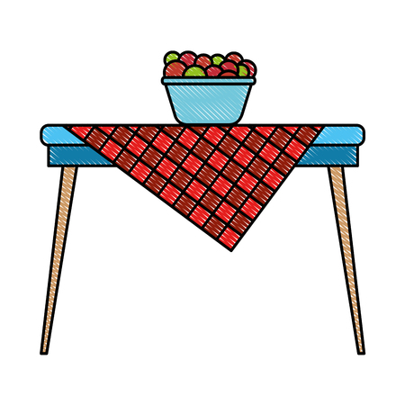 Picnic table with fruits in bowl vector illustration design Çizim