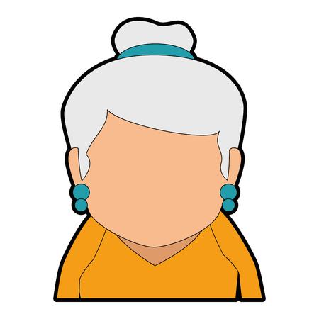 A cute grandmother avatar character vector illustration design Çizim