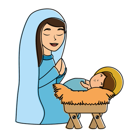 A cute virgin Mary with Jesus baby characters vector illustration design Illustration