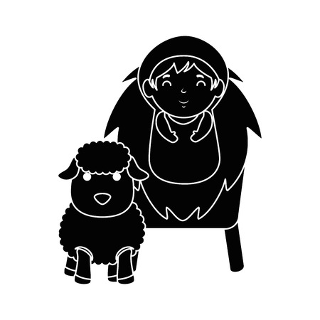 A cute baby in cradle with sheep vector illustration design