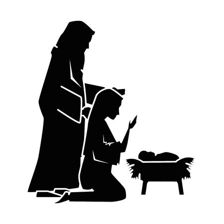 Una progettazione santa dell'illustrazione di vettore dei caratteri di Natale della siluetta della famiglia Archivio Fotografico - 96556737