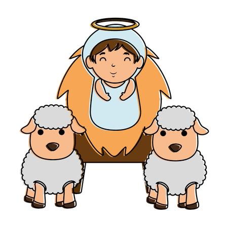 cute jesus baby in cradle with sheeps vector illustration design