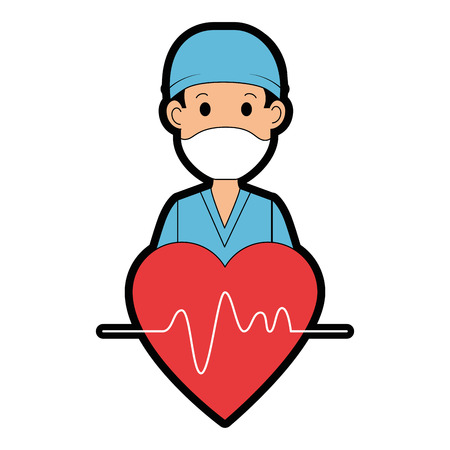 surgeon doctor with heart avatar character icon vector illustration design  イラスト・ベクター素材