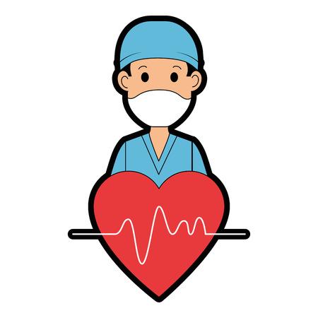 lekarz chirurg z sercem avatar postać ikona wektor ilustracja projekt Ilustracje wektorowe