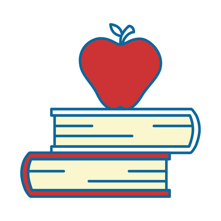 A text books with apple vector illustration design