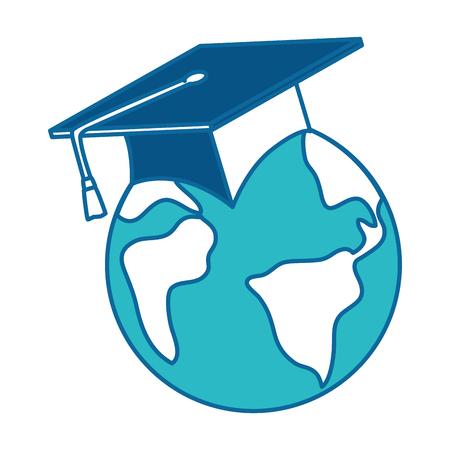 Earth planet with hat graduation vector illustration design