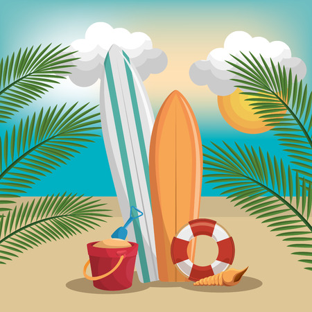 summer vacattions set icons vector illustration design Stock Illustratie