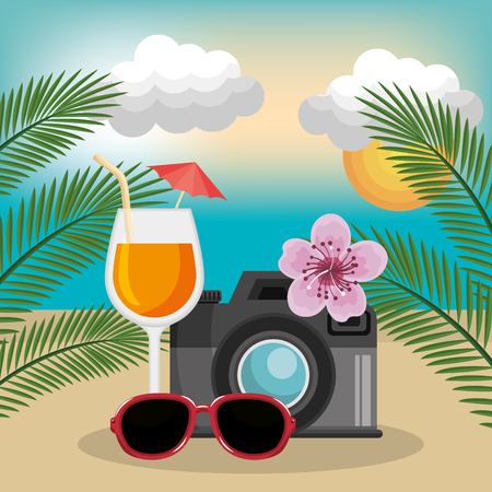 A summer vacations set icons vector illustration design Illustration