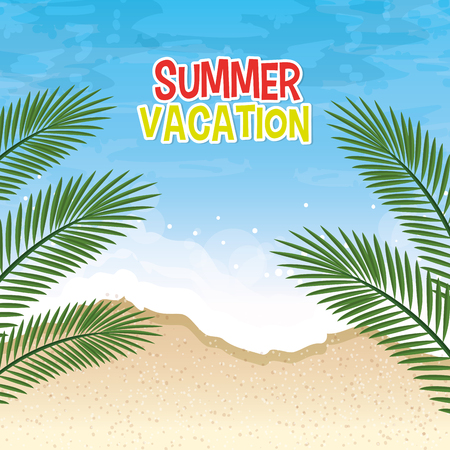 summer vacation seascape scene vector illustration design  イラスト・ベクター素材