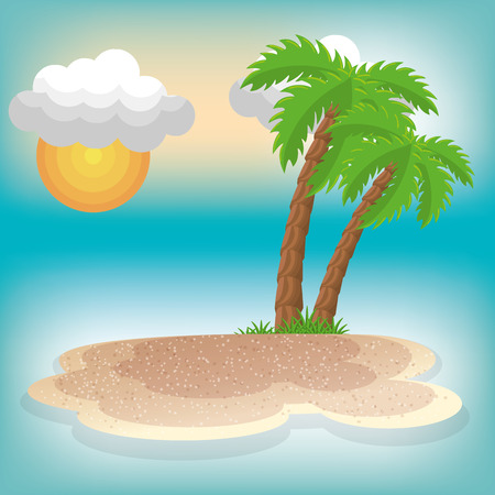 A summer vacation seascape scene vector illustration design