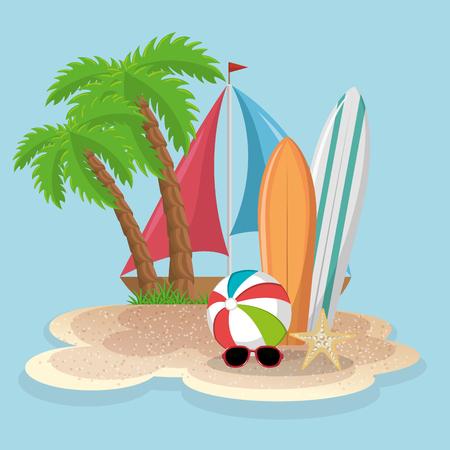 A summer vacations set icons vector illustration design Illustration