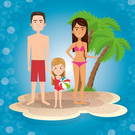 Eltern mit Tochter am Strand Vektor-Illustration Design Standard-Bild - 96437770