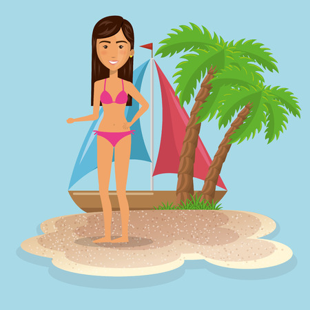 woman character on the beach vector illustration design