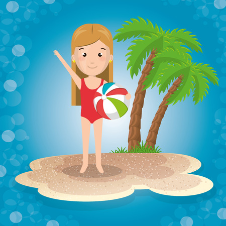 Little girl on the beach vector illustration design Illustration