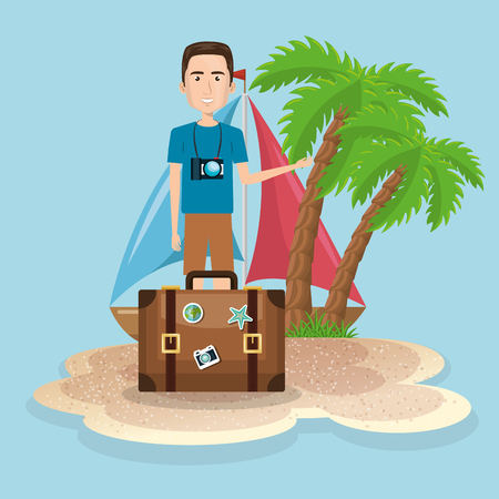Man character on the beach vector illustration design Illustration