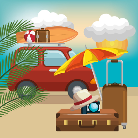 A summer vacations set icons vector illustration design Иллюстрация