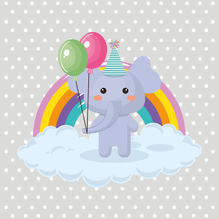Cute elephant with balloons air party sweet kawaii birthday card vector illustration design