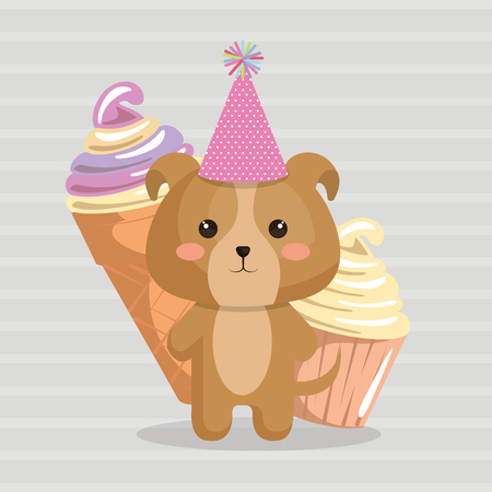 Cute dog with ice cream kawaii birthday card vector illustration design