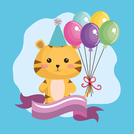 A cute tiger with balloons air birthday card vector illustration design