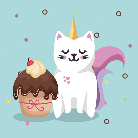 Cute Cat Sweet Kawaii With Cupcake Birthday Card Vector Illustration