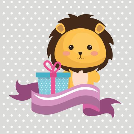 Cute leon con diseño de ilustración de vector de tarjeta de cumpleaños kawaii de regalo