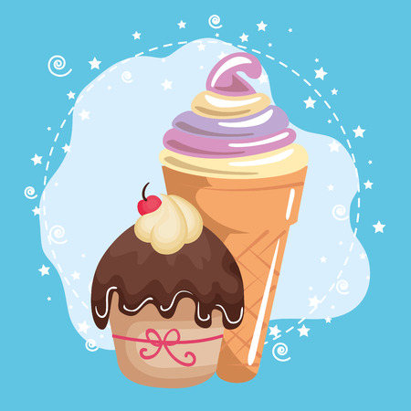 A sweet and delicious cupcake with ice-cream birthday card vector illustration design