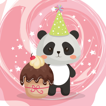 A cute bear panda with cupcake birthday card vector illustration design 일러스트