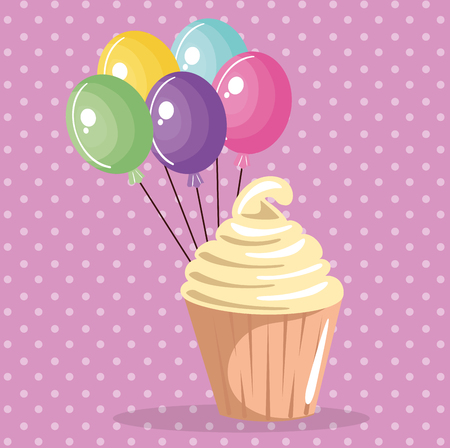 A sweet and delicious cupcake with balloons air birthday card vector illustration design