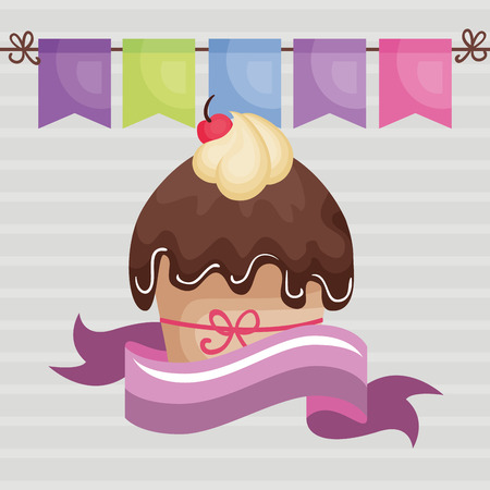 A sweet and delicious cupcake with ribbon birthday card vector illustration design