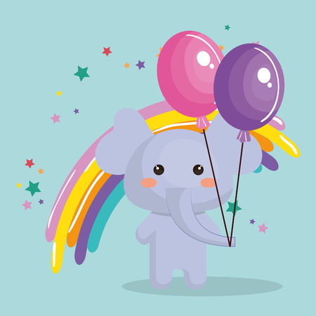 A Cute Elephant With Balloons Air Party Sweet Birthday Card