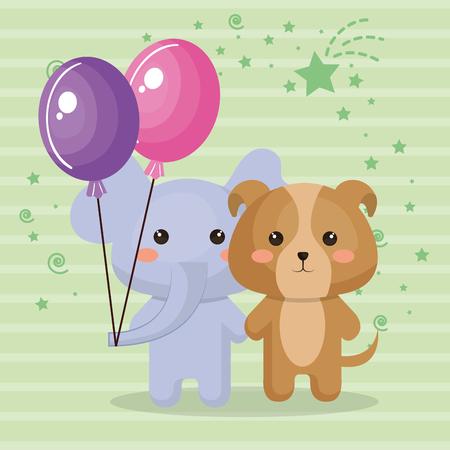 A cute elephant and doggy sweet  birthday card vector illustration design Illustration