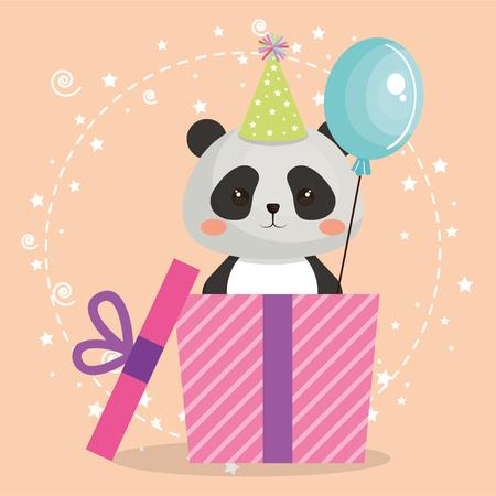 A cute bear panda with gift birthday card vector illustration design