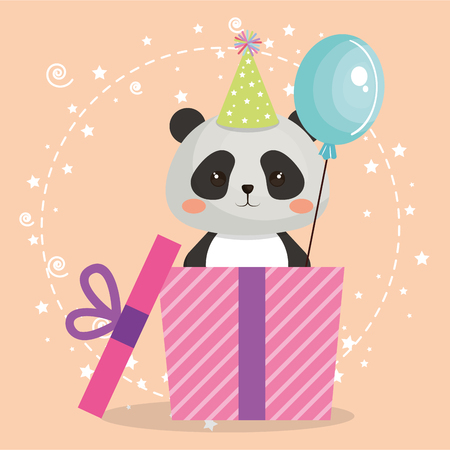 A cute bear panda with gift birthday card vector illustration design