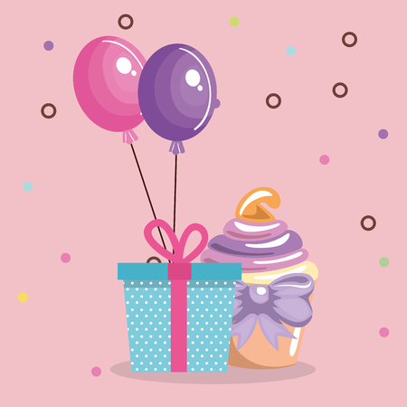 Sweet and delicious cupcake with gift and balloons vector illustration design